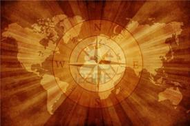 map of the world plus compass